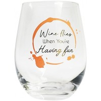 Wine Having Fun Wine Glass Peach