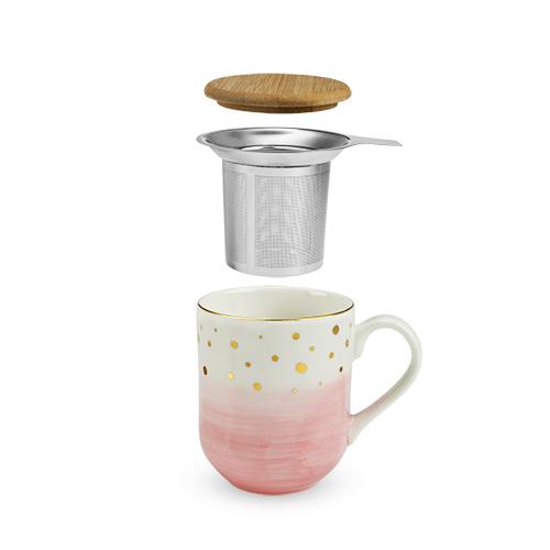 Casey Pink Ceramic Tea Mug & Infuser
