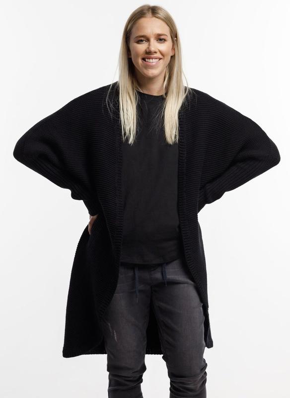 Home-Lee: Chunky Knitted Cardi - Black - Xl