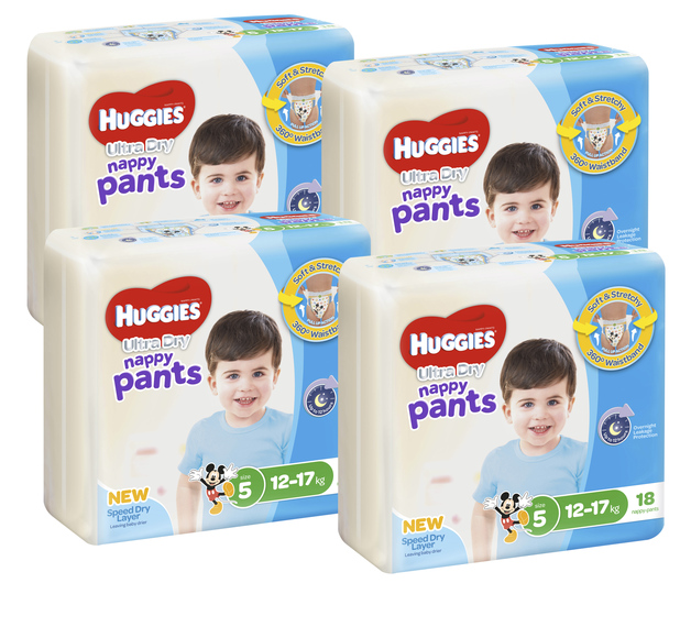 Huggies Ultra Dry Nappy Pants Convenience Value Box - Size 5 Boy 12-17 kg (72)