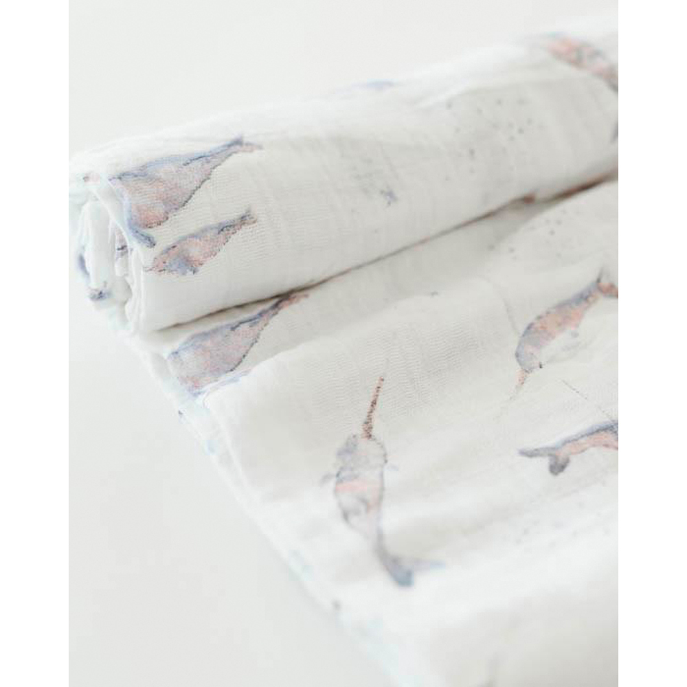 Little Unicorn - Single Cotton Muslin Swaddle - Narwhal image