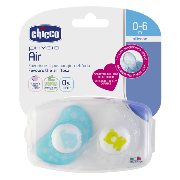 Chicco: Physio Air Soother - 0-6m 2 Pack (Boy)