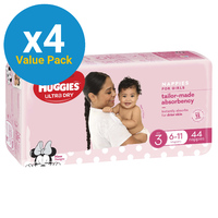 Huggies Ultra Dry Nappies Bulk Value Box - Size 3 Crawler Girl (176)