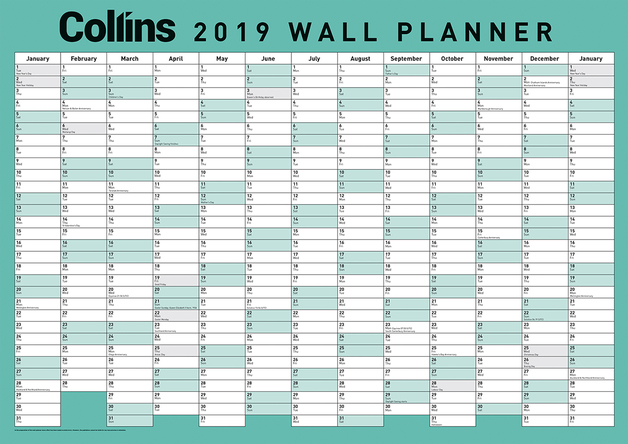Buy Collins 2019 A3 Wall Planner - Laminated at Mighty Ape NZ