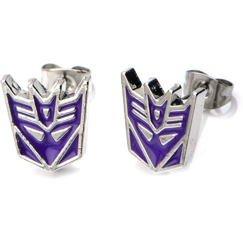 Transformers: Purple Decepticon Logo Stud Earrings