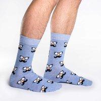 Good Luck Socks: Men's Blue Moustache Socks - (Shoe Size 7-12)