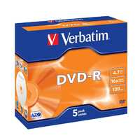 Verbatim DVD-R 4.7GB Jewel Case 16x (5 Pack) image