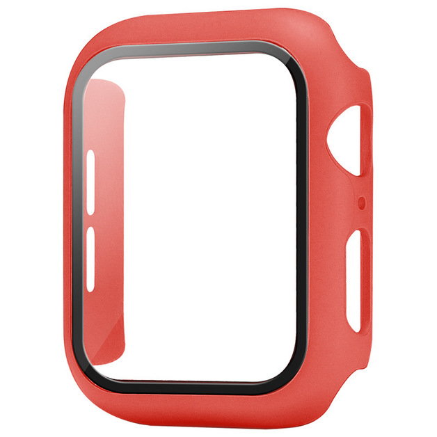 44mm Built-in Thin HD Tempered Glass Screen Apple Watch Protector Case - Red