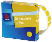 Avery Yellow 14mm Diameter Circle Dispenser Labels Pkt1050