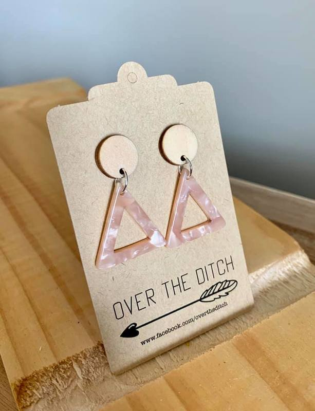 Over the Ditch: Triangle Dangle Earrings - Pink Marble