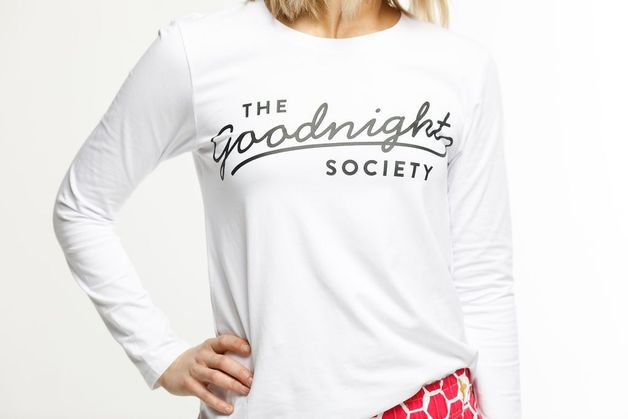 The Goodnight Society: Long Sleeve Tee Logo Print (White) - XS