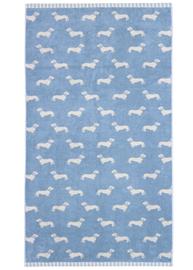 Emily Bond Bath Towel - Blue Dachshunds