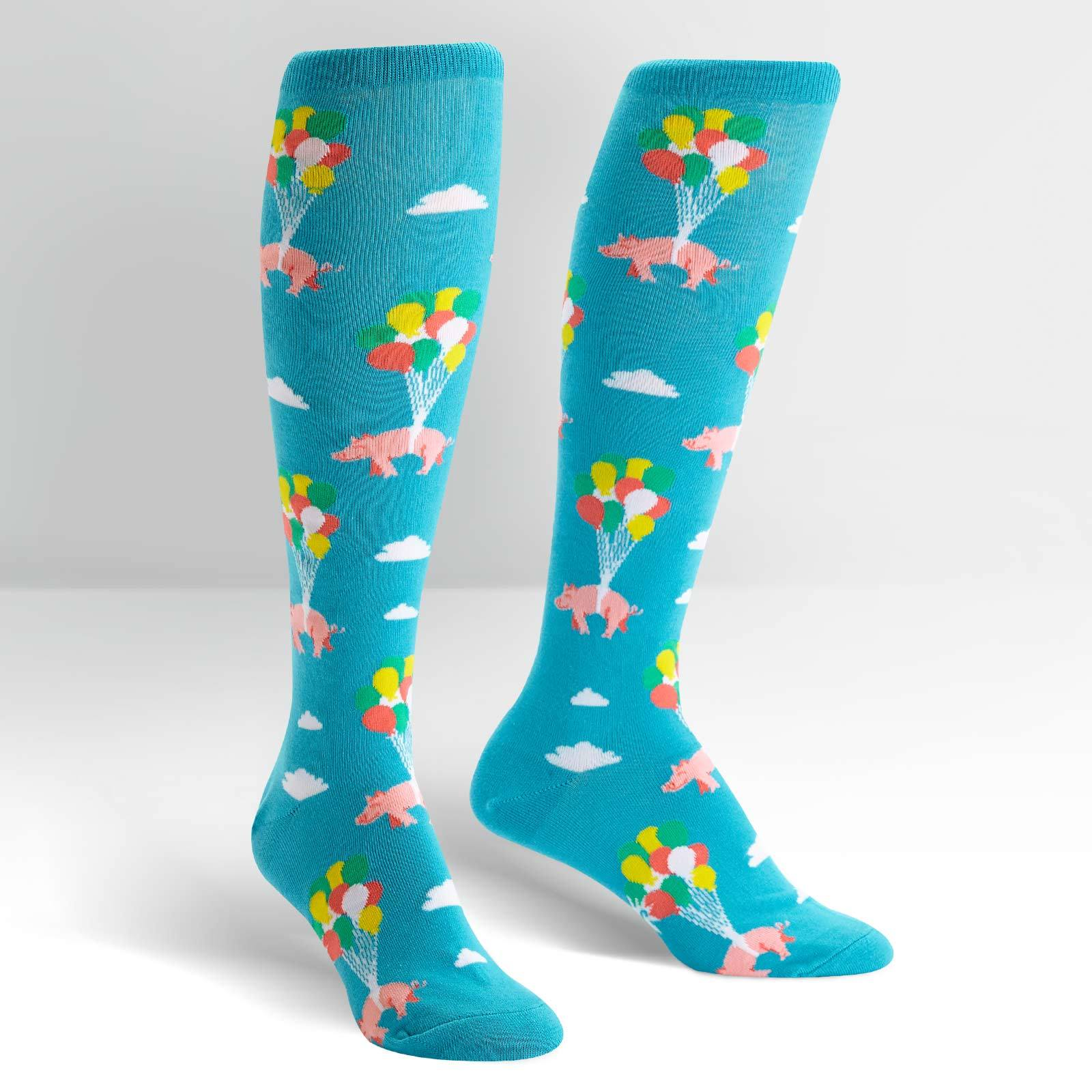 Women's - Pigs Can Fly Knee High Socks image