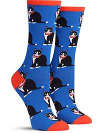 Womens Tuxedo Cats Socks - Blue