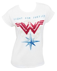 DC Comics: Wonder Woman Fight For Justice - Roll Sleeve T-Shirt (Large)