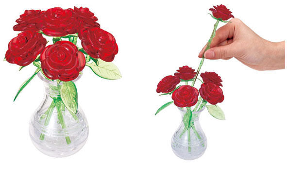 Crystal Puzzle Six Roses In Vase Toy At Mighty Ape Australia