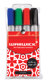 Warwick Whiteboard Chisel Tip Markers Assorted Pkt4