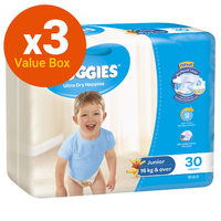 Huggies Ultra Dry Nappies Bulk Value Box - Size 6 Junior Boy (90)