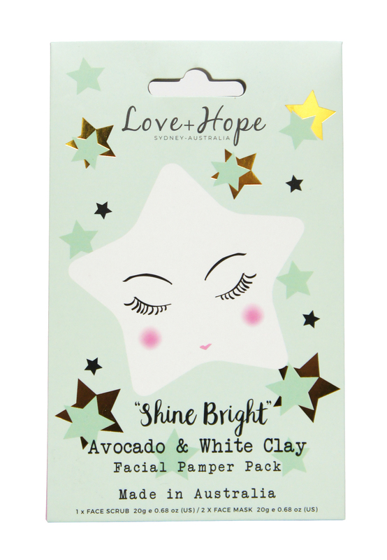 Love & Hope: Shine Bright Pamper Pack (Avocado & White Clay)