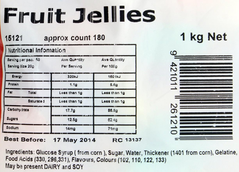 Rainbow Confectionery Fruit Jellies Bulk Bag 1kg image