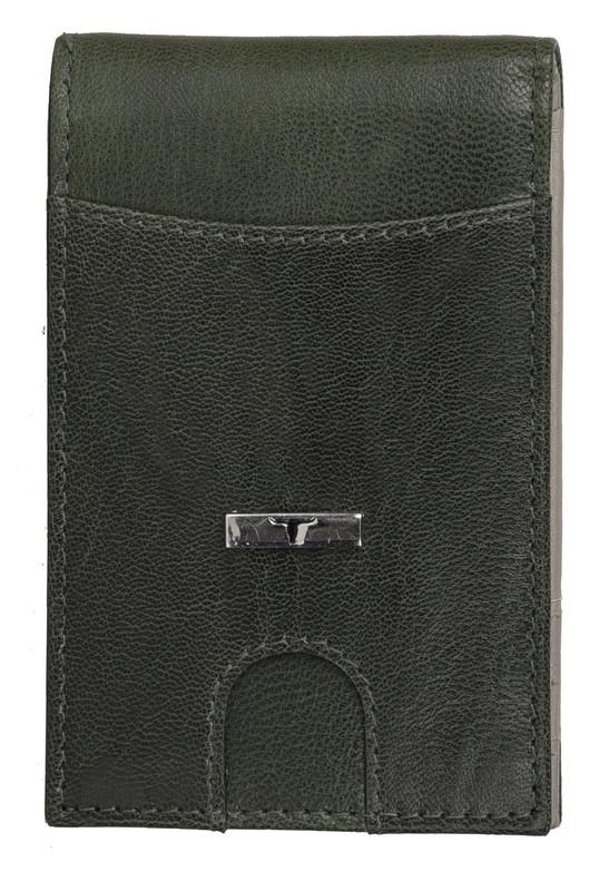 Urban Forest: Eddy Slim Leather Wallet - Decker Green/Light Grey