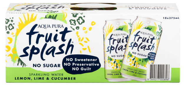 Aqua Pura Fruit Splash Lemon, Lime & Cucumber 375ml 10pk