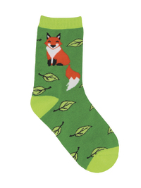 Kid's (7-10 Years) Fox on Socks Crew Socks - Green