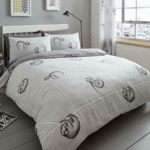 Gaveno Cavailia: Reversible Duvet Cover Bedding Set - Classic Sloth (King)