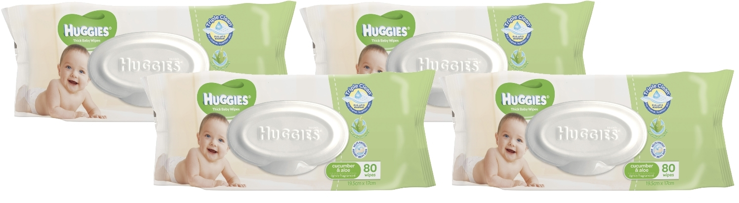 Huggies Baby Wipes Refill Shipper Pack - Cucumber & Aloe (320 Wipes) image