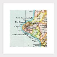 Taranaki Vintage Map Print - Framed