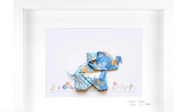 Small White Frame Happy Elephant (Blue)