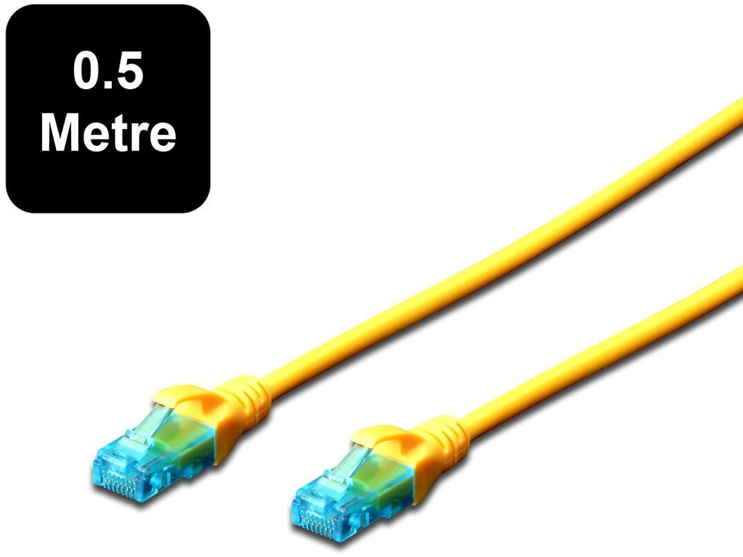 0.5m Digitus UTP Cat5e Network Cable - Yellow image