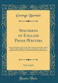 Specimens of English Prose-Writers, Vol. 2 of 3 by George Burnett image