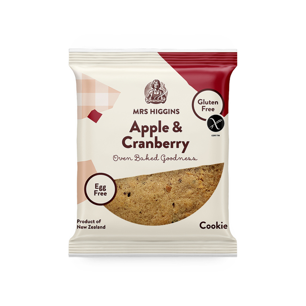 Mrs Higgins: Gluten Free Cookie Apple & Cranberry 60g (12 Pack)