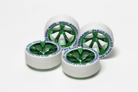 Tamiya Mini 4WD JR Low Profile Tires White - w/Green Plated Wheels