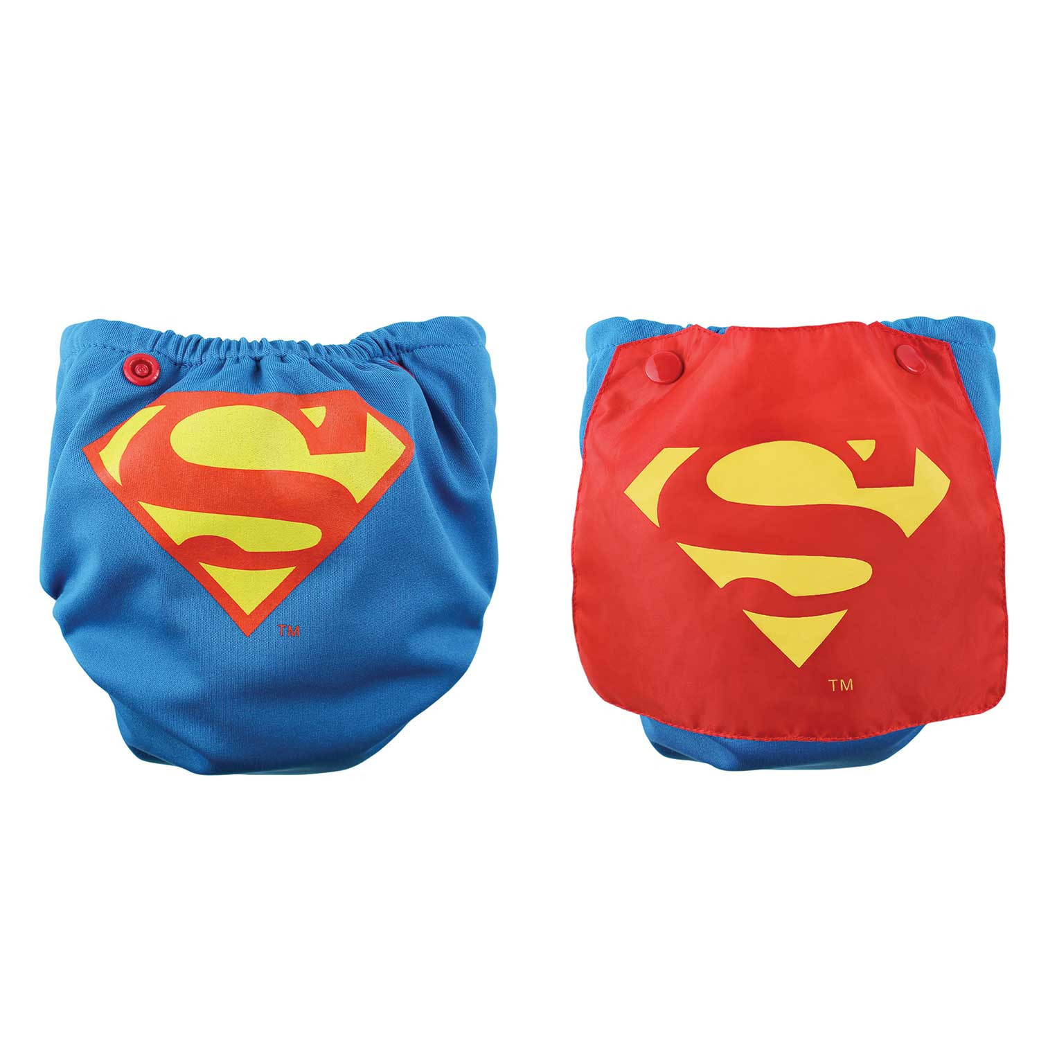 Bumkins DC Comics Snap in One Nappy with Cape - Blue Superman image
