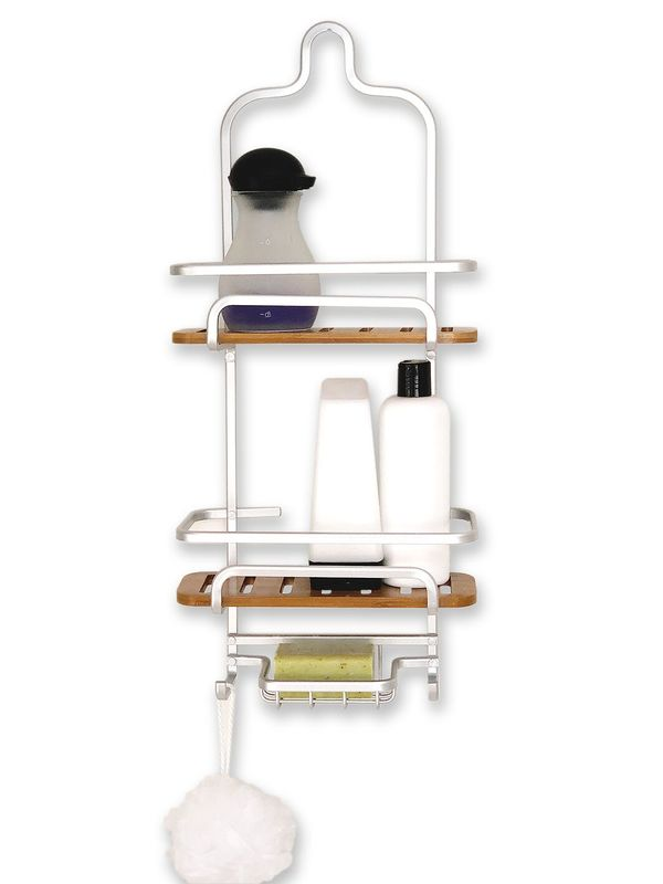 Urban Lines: Cove Aluminum/Bamboo Shower Caddy