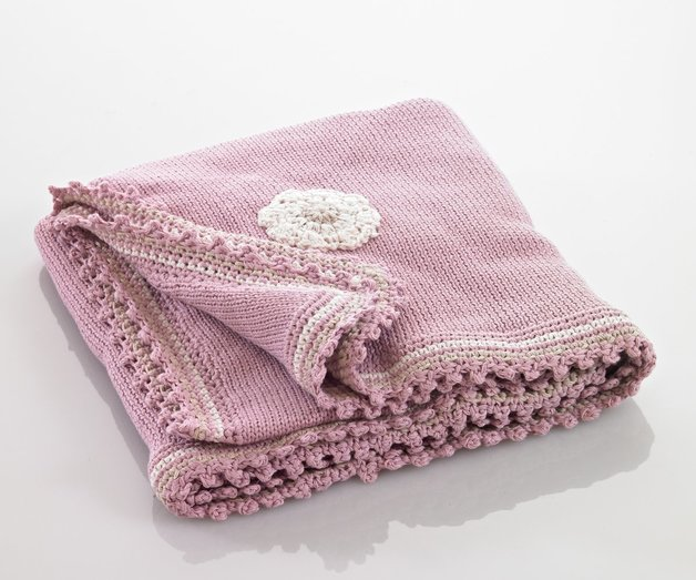 Pebble: Organic Crochet Edge Blanket - Dusky Pink