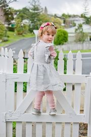 Cheeky Chimp: Linen Short Sleeved Dress - Charcoal (Size 6)