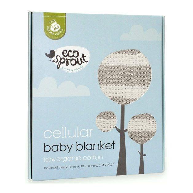 Ecosprout: Cotton Cellular Bassinet Blanket - Natural/Dove Grey Stripe