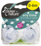 Closer to Nature Any Time Soother 0-6 Months (Clear) - 2 Pack