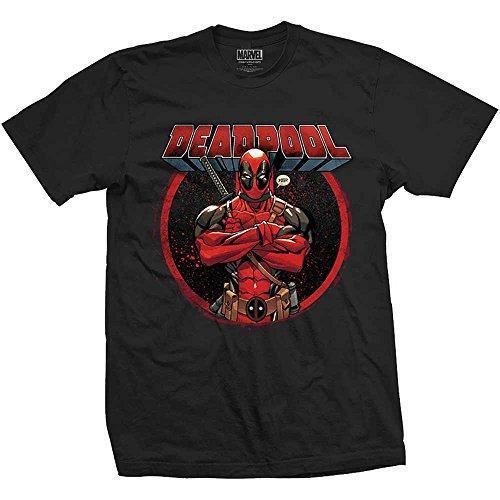 Marvel Comics Deadpool Crossed Arms Mens Blk TS (Medium)