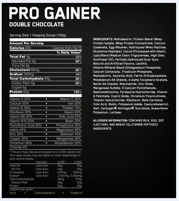 Optimum Nutrition Pro Complex 60 Gainer - Double Chocolate (4.62kg) image