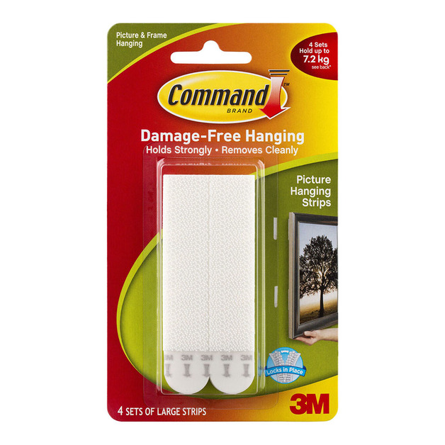 Command: Strips Picture Hanging - Large White/Pack of 4 Sets