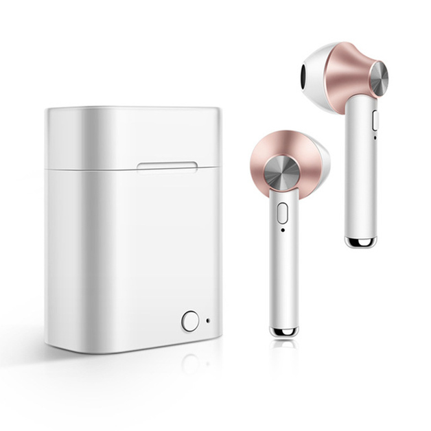 Wireless Bluetooth 5.0 Stereo In-Ear Earbuds with Built-In Microphone and Charge Box - Rosegold