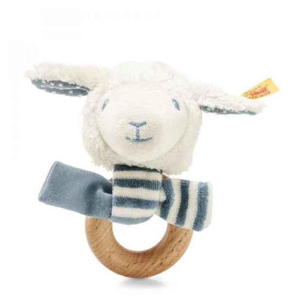 Steiff: Leno Lamb Grip Toy with Rattle - White/Petrol