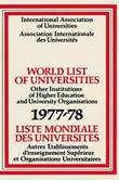 World List of Universities 1977-78 / Liste Mondiale des Universites by International Association of Universities