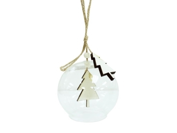 Ione Wooden Xmas Tree Bauble - Natural (9cm) image