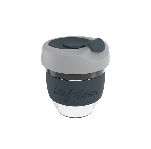 Leaf & Bean: Sorrento Glass Travel Cup - Grey/Coal