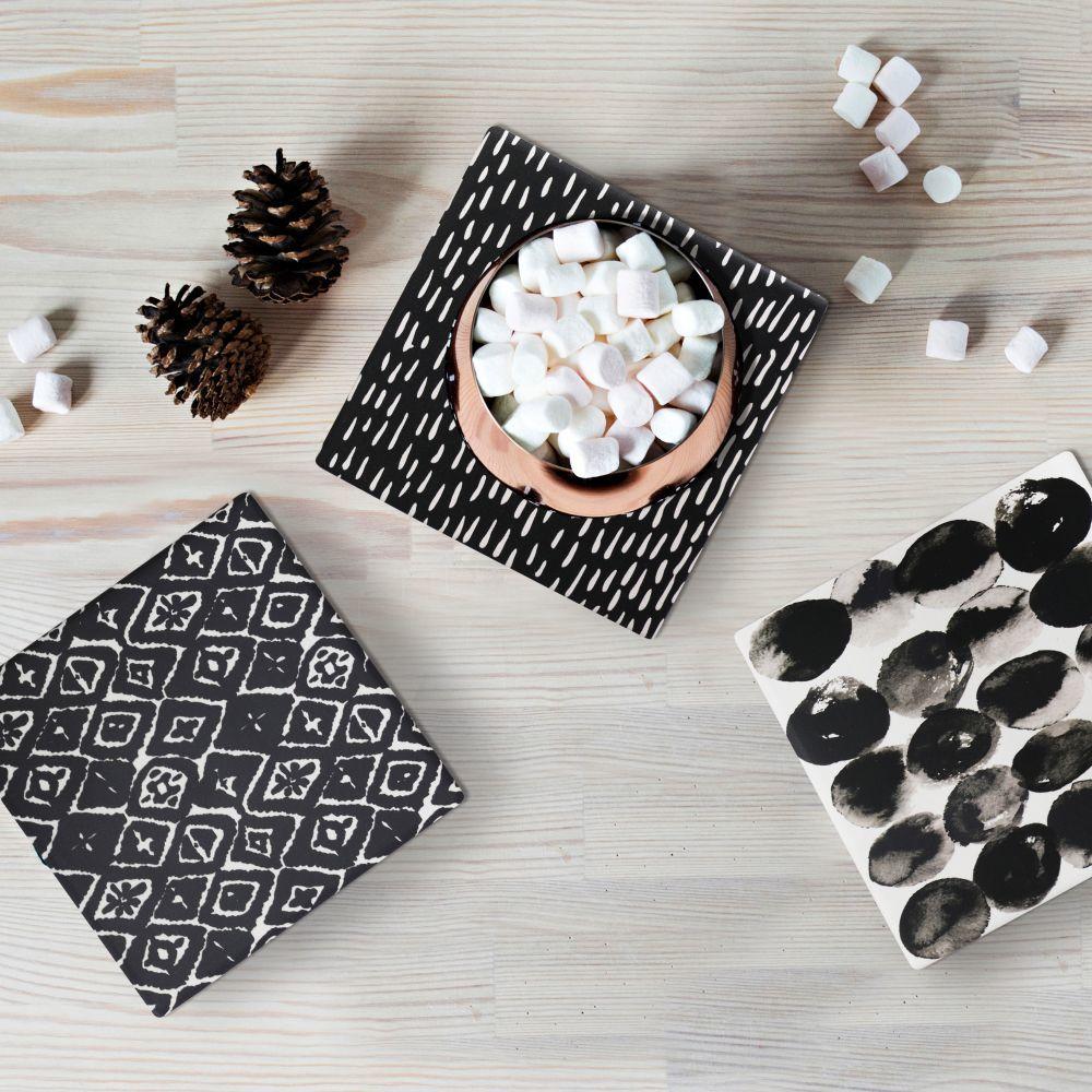 Splosh Markings Ceramic Coaster - Dark Diamond image